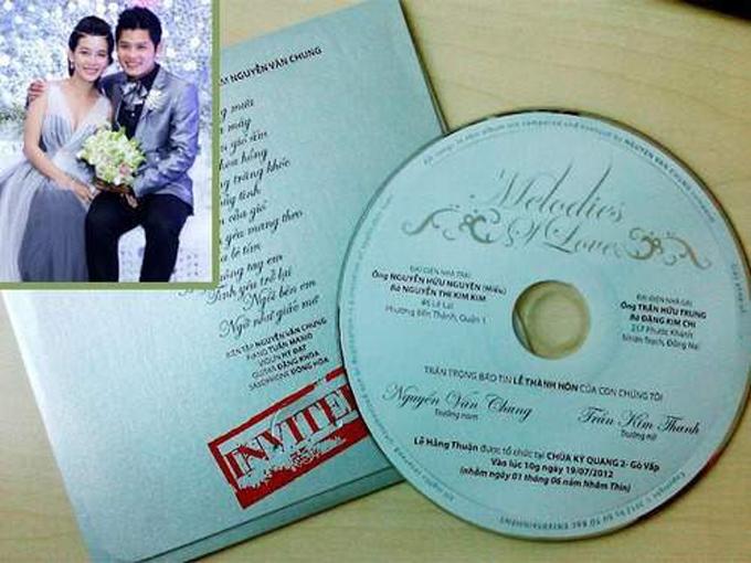 Thiệp cưới đĩa CDỞ đám cưới năm 2012, nhạc sĩ Nguyễn Văn Chung gửi đến khách mời tấm thiệp cưới là chiếc đĩa CD thu sẵn ca khúc do anh sáng tác. Trên mặt đĩa là những thông tin cơ bản về đám cưới nhạc sĩ bao gồm thời gian, địa điểm, thông tin nhà trai, nhà gái.