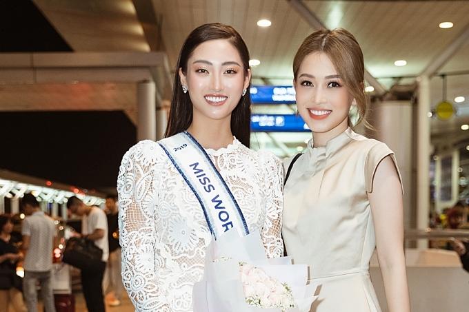 Á hậu Phương Nga (phải) kỳ vọng Thuỳ Linh sẽ gặt hái kết quả cao ở Miss World.