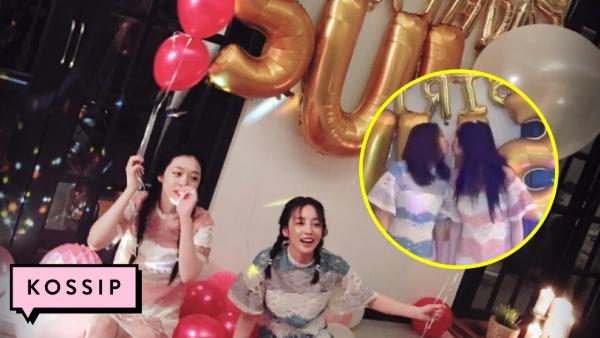 Hai cô gái cùng tết tóc, mặc đồ tương đồng và chu môi hôn nhau trong ngày sinh nhật của Sulli.