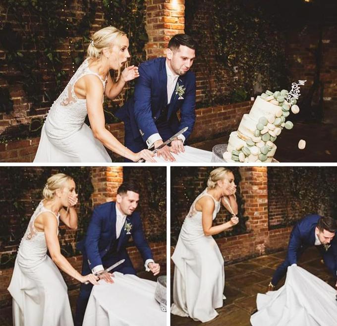 Cô dâu gần như phát khóc khi bánh cưới đổ ngay trước mắt.