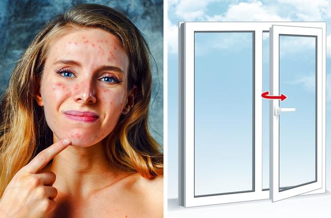 Cửa sổ mở Nhiều nghiên cứu đã chỉ ra mối quan hệ giữa ô nhiễm không khí và lão hóa sớm. Bụi bẩn từ đường phố, các công trình xây dựng, xe cộ lưu thông hay khói thuốc lá có thểkhiến làn da của bạn gặp nhiều vấn đề dù bạn ở trong nhà.