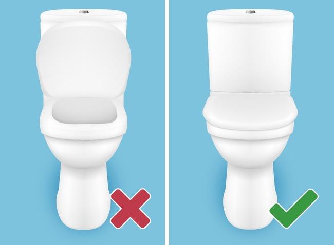 ToiletQuy tắc xả nước trong toilet là phải đậy nắp bồn cầu trước rồi mới xả nước. Tuy nhiên, không nhiều người có thói quen này. Khi bạn xả nước với nắp bồn cầu mở, vi khuẩn, vi sinh vật lây bệnh có thể lan ra không khí, bám vào quần áo, da và tóc.