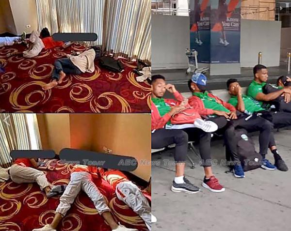 Các cầu thủ Campuchia nằm ngủ trên sàn khách sạn