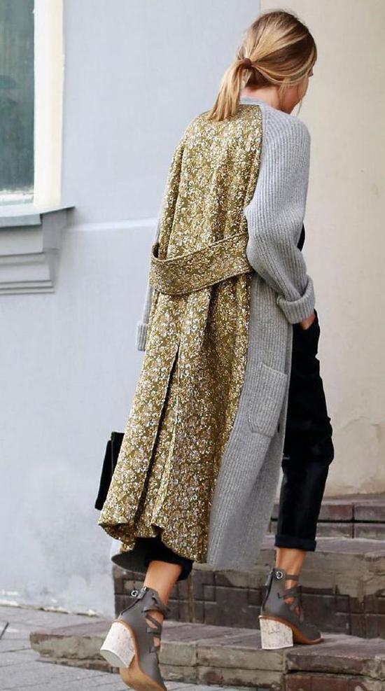 Không sang chảnh nhưmăng tô vải kaki, vải dạ, nhưng các kiểu áo cardigan dáng dài may bằngvải len cũng được yêu thích vì độ mềm mại,ấm áp, kiểu dáng đậm chất nữ tính.