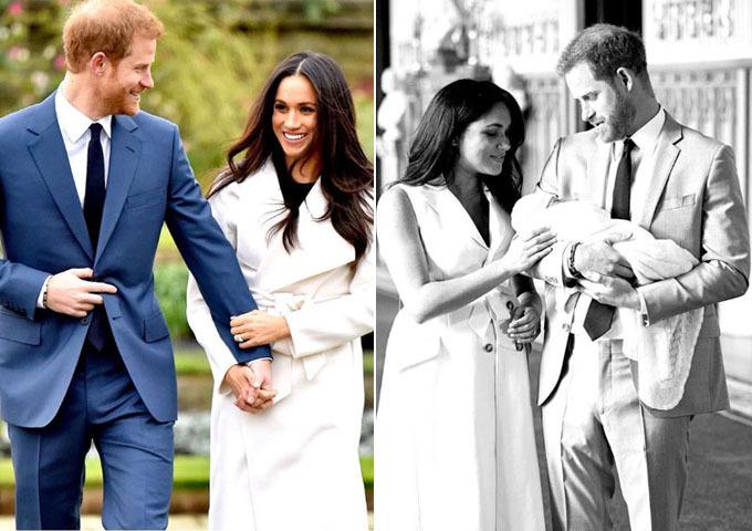 Ảnh đính hôn (trái) và khi giới thiệu con Archie với công chúng (phải) của cặp vợ chồng. Ảnh: Instagram.