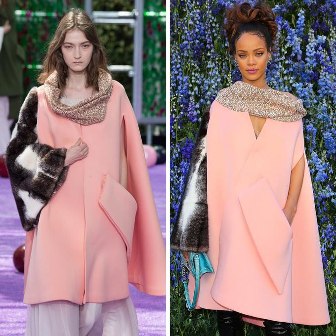 Với chiếc áo choàng Dior, giọng ca Diamonds để lộ đường xẻ ngực và bổ sung nét cá tính, hiện đại bằng bốt da cổ cao.