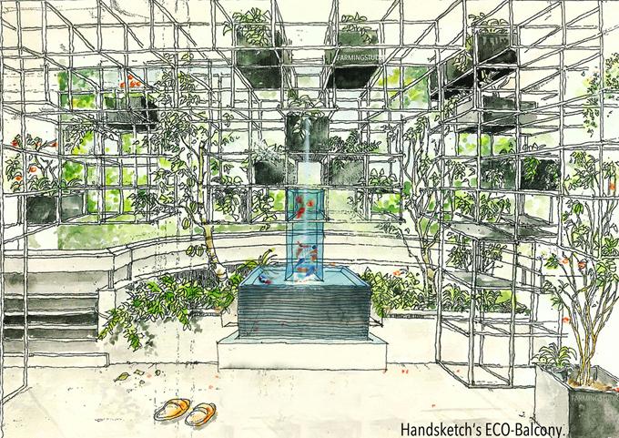 Phối cảnh ban công sinh thái đầu tiên của nhóm kiến trúc sư.