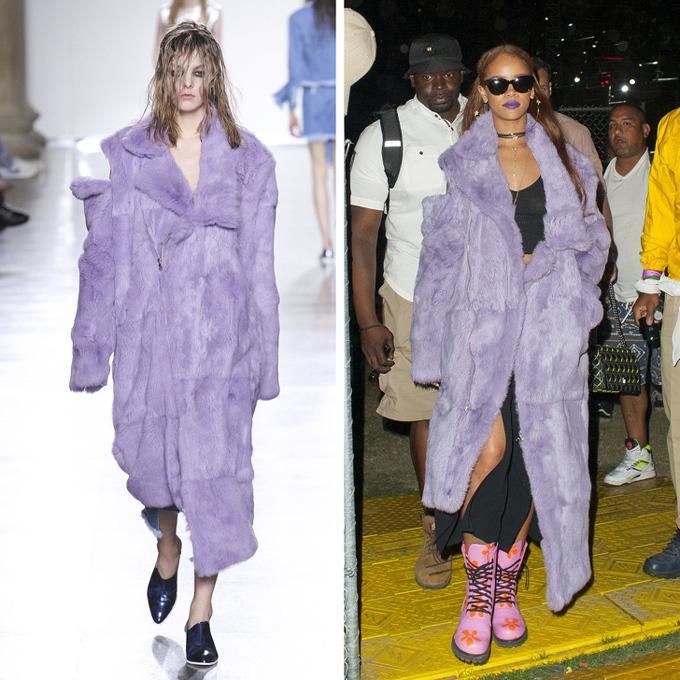 Không chỉ phối đồ phóng khoáng, Rihanna còn tô môi màu tím đồng điệu với áo choàng lông Marques Almeida.