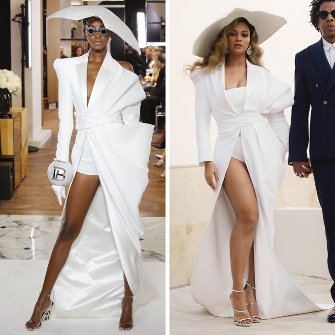 So với nguyên mẫu của Balmain, ong chúa Beyonce mặc thêm áo quây bên trong nhưng lại thay quần short bằng quần tam giác tương tự nội y.