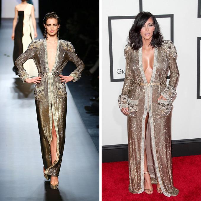 Không điều chỉnh xiêm y Jean Paul Gaultier nhưng ngôi sao truyền hình thực tế Kim vẫn tạo dấu ấn riêng do khác biệt vóc dáng với người mẫu.