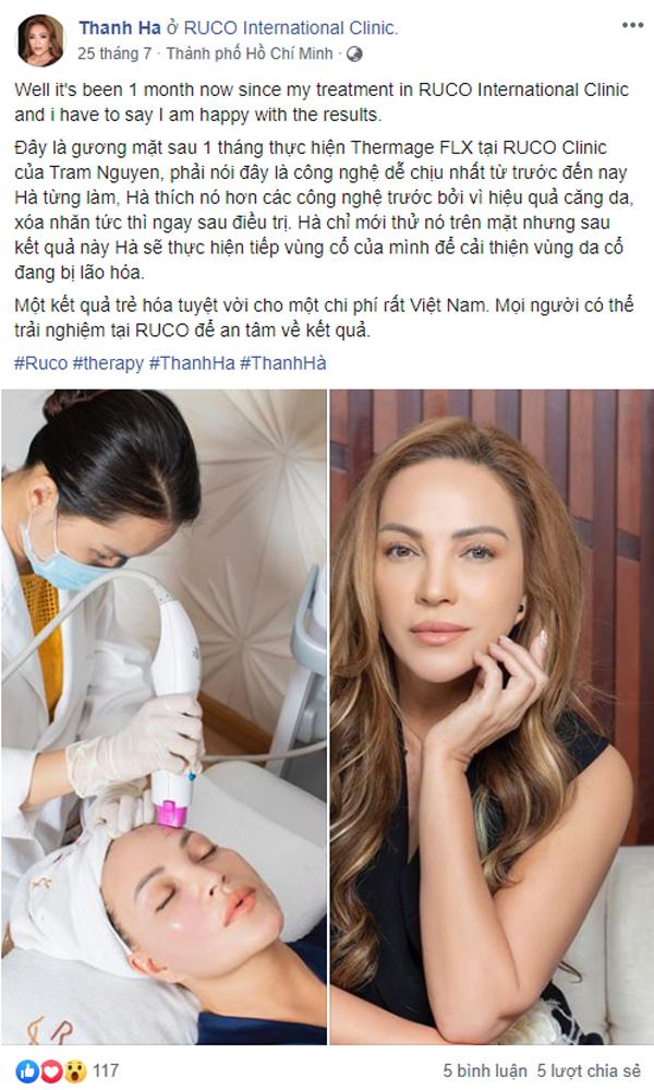 Ca sĩ Thanh Hà chia sẻ trên trang cá nhân saumột tháng trẻ hóa tại Ruco.