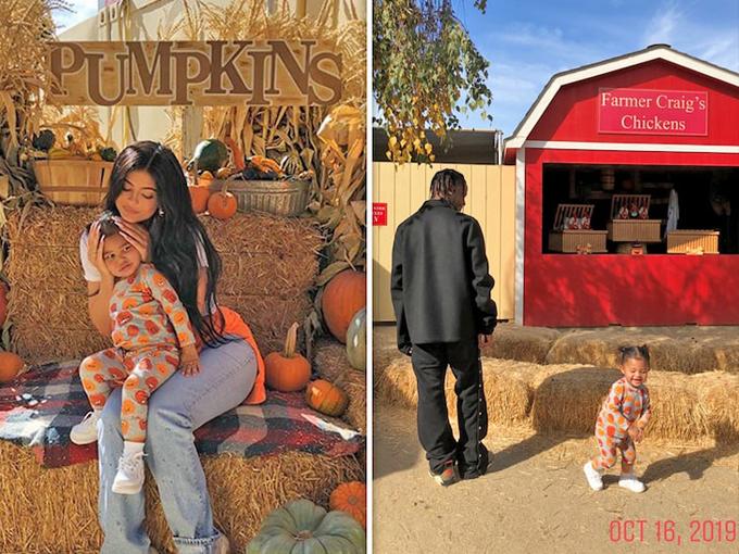 Kylie và Travis cùng đưa con gái đi chơi ở trang trại bí ngô ngày 16/10.