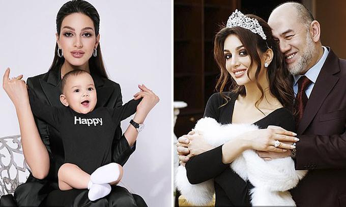 Hoa khôi Nga và con trai Ismail Leon hiện tại (trái) và với cựu vương Muhammad V (phải). Ảnh: East2west News.
