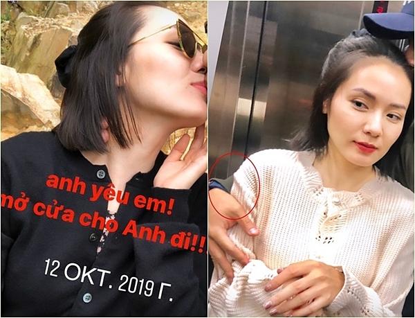 Phương Linh đăng ảnh bên bạn trai giấu mặt.