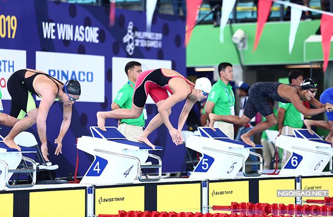 Tại vòng loại nội dung 200m hỗn hợp, Ánh Viên bơi ở làn số 4.