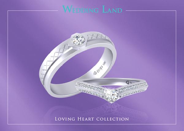 Một cặp nhẫn trong bộ sưu tập Loving heart của Wedding Land.