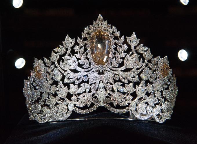 Chiếc vương miện mang tên Power of Unity (Sức mạnh của sự đoàn kết) lấy cảm hứng từ thiên nhiên, sức mạnh, vẻ đẹp, sự nữ tính và sự đoàn kết. Các cánh hoa, lá và dây leo (mô phỏng cây thường xuân và cây nho) đại diện cho sự liên kết của cộng đồng ở 7 lục địa. Vương miện được chế tác bằng vàng 18 carat, đính hơn 1.770 viên kim cương. Ở trung tâm là một viên kim cương lớn màu hoàng yến, nặng 62,83 carat. Đối xứng hai bên là hai viên kim cương nhỏ hơn được cắt từ cùng một viên đá khai thác ở Botswana.
