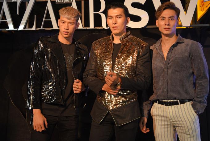 Nam vương Ngọc Tình (giữa) cùng nhiều người mẫu góp mặt ở buổi tiệc Black rose party.