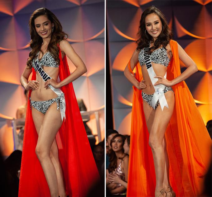 Nguoiwf đẹp Nicaragua (trái) và Mông Cổ cùng đọ dáng với bikini da báo.