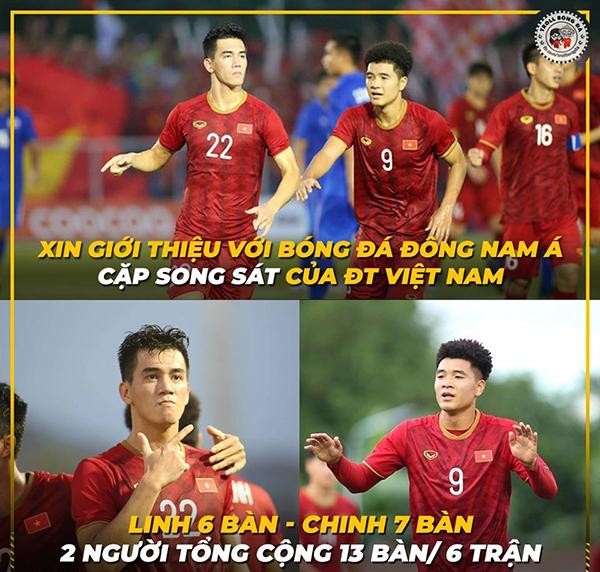 Sau trận đầu, cầu thủ Tiến Linh, Đức Chinh liên tục được gọi tên và được gọi là cặp song sát của đội tuyển Việt Nam.