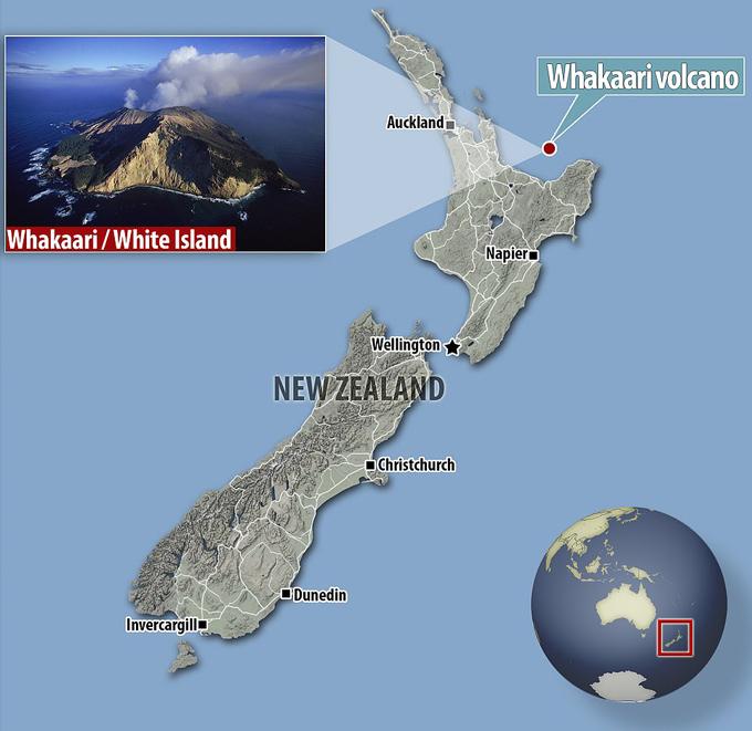 Vị trí đảo núi lửa Whakaari ở ngoài khơi phía bắc New Zealand. Ảnh: GGM.