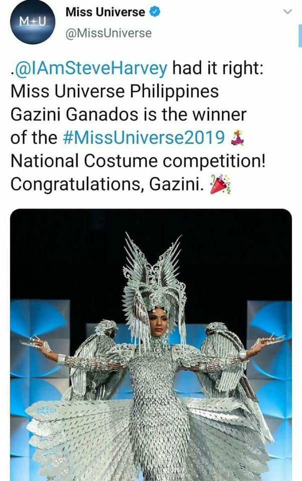 Tổ chức Miss Universe khẳng định Hoa hậu Philippines mới là người thắng giải quốc phục. Trang phục của Gazini Ganados lấy cảm hứng từ hình ảnh chim đại bàng - quốc điểu của Philippines.