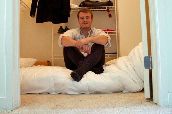 Mathias Mikkelsen ngủ trong tủ khi chuyển đến thung lũng Siliconkhởi nghiệp. Ảnh:Mathias Mikkelsen.