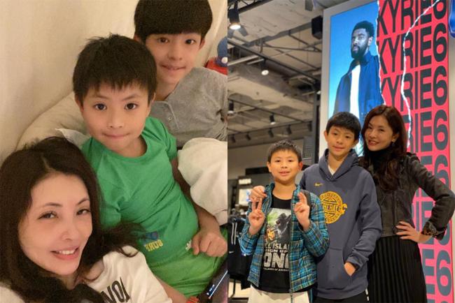 Hà Như Vân và hai con trai.