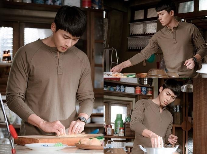 Hyun Bin đóng cảnh nấu ăn ở đầu tập 2.