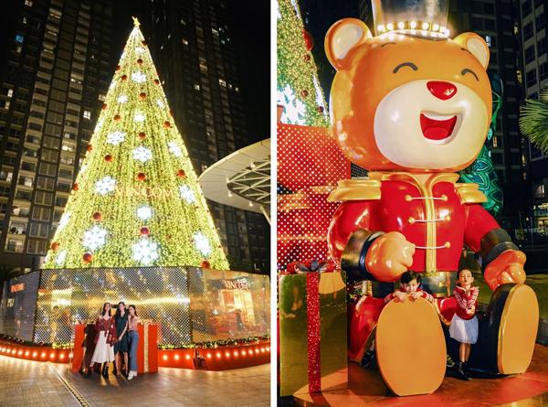 Chỉ còn vài ngày nữa là tới Giáng sinh, không gian tại Trung tâm thương mại Vincom Center Landmark 81 được trang hoàng rực rỡ với cây thông và chú gấu Teddy khổng lồ, sẵn sàng chào đón một mùa lễ hội rực rỡ sắc màu. Trong khi giới trẻ đua nhau chụp ảnh cùng cây thông cao tới 24 m thì các em nhỏ lại thích ngồi vào lòng chú gấu Teddy cao 5 m để tạo dáng.