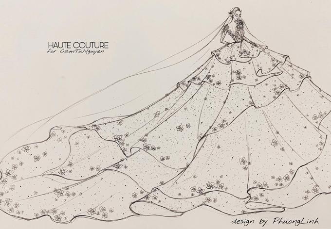 Bản vẽ phác thảo mẫu váy cưới được đăng ký bản quyền cho cô dâu Cẩm Tú.