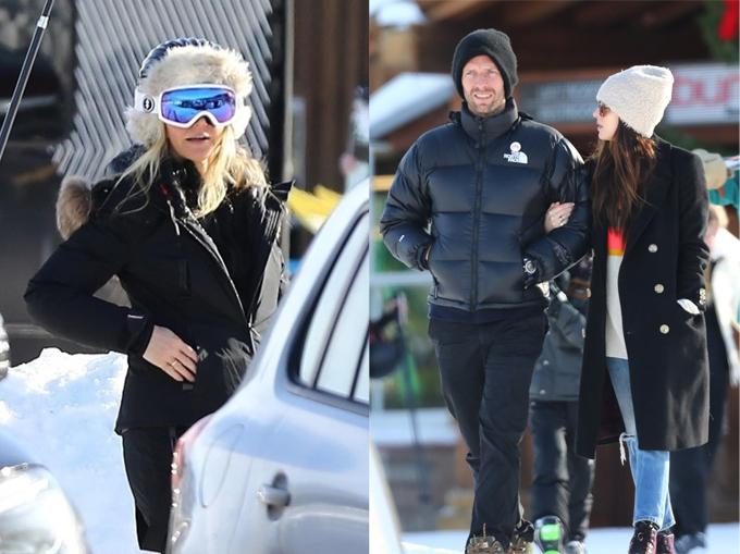 Gwyneth Paltrow (bìa trái) và Chris Martin giữ mối quan hệ thân thiết sau khi ly hôn năm 2014. Nữ diễn viên 50 sắc thái Dakota Johnson (bìa phải) hẹn hò Chris từ năm 2017 và trở thành bạn bè của Gwyneth. Họ thi thoảng hội ngộ đi chơi cùng nhau trong các kỳ nghỉ.