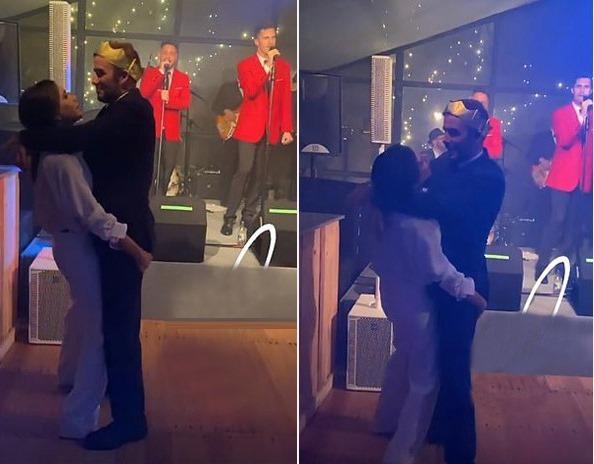 Ở một video khác, cựu danh thủ Anh đội vương miện quàng tay qua cổ Vic đang ôm cứng lấy anh, cả hai nhún nhảy theo giai điệu của bài hát. Daily Mail cho biết, cậu hai Romeo rất ngưỡng mộ tình cảm của bố mẹ khi thấy hai người liên tục ôm nhau nhảy.