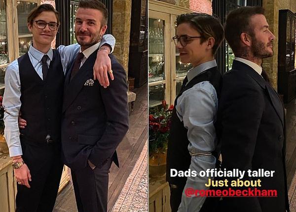 Cậu hai Romeo đẹp trai, trí thức khi đeo kính. Becks cũng đăng ảnh so chiều cao với chàng trai 17 tuổi. Vài ngày trước, Romeo khoe cậu đã cao hơn bố.