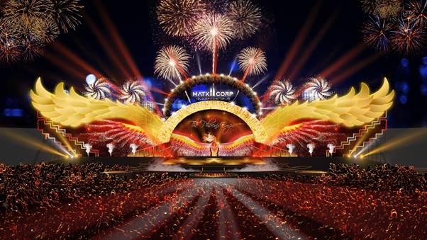 Sân khấu lấy cảm hứng từ đôi cánh phượng hoàng kết hợp cùng hiệu ứng ánh sáng độc đáo tại sân vận động Quân khu 7 với sức chứa lên đến 20.000 người.