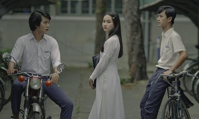 Từ trái sang: Trần Phong vai Dũng, Trúc Anh vai Hà Lan và Trần Nghĩa vai Ngạn.