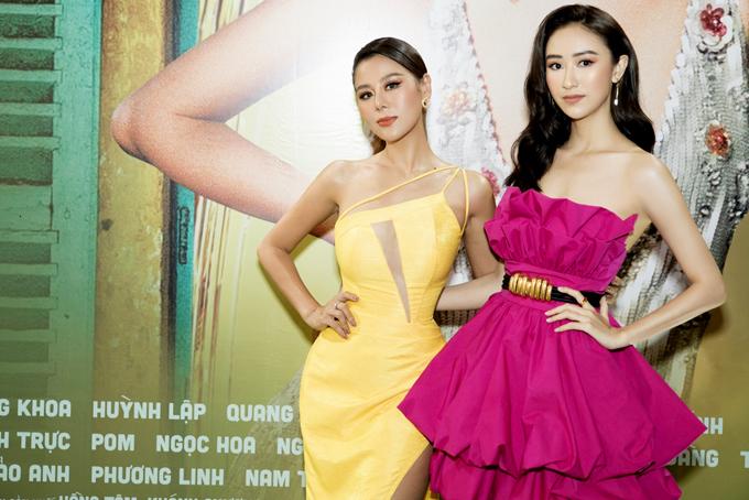 Á hậu Hà Thu nổi bật trong bộ váy hồng cúp ngực.