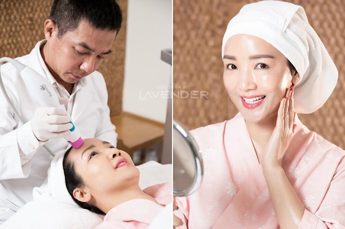 Quỳnh Nga và Hoa hậu Giáng My là hai trong nhiều sao Việt đã sử dụng dịch vụ Thermage FLX tại Viện thẩm mỹ Lavender.