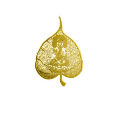 Cài áo hình lá bồ đề (giá gốc 220.000 đồng giảm còn 187.000 đồng) có tạo hình đặc biệt, mang ý nghĩa gửi gắmmay mắn, bình an. Sản phẩm được để trong hộp kính, chất liệuđồng phủ vàng 24k.