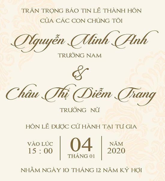 Thiệp cưới của vợ chồng Minh Anh - Diễm Trang.