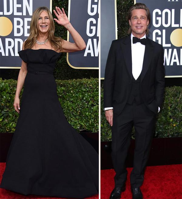 Jennifer Aniston và Brad Pitt tại lễ trao giải Quả cầu vàng tối 5/1. Ảnh: AP, Shuterstock.