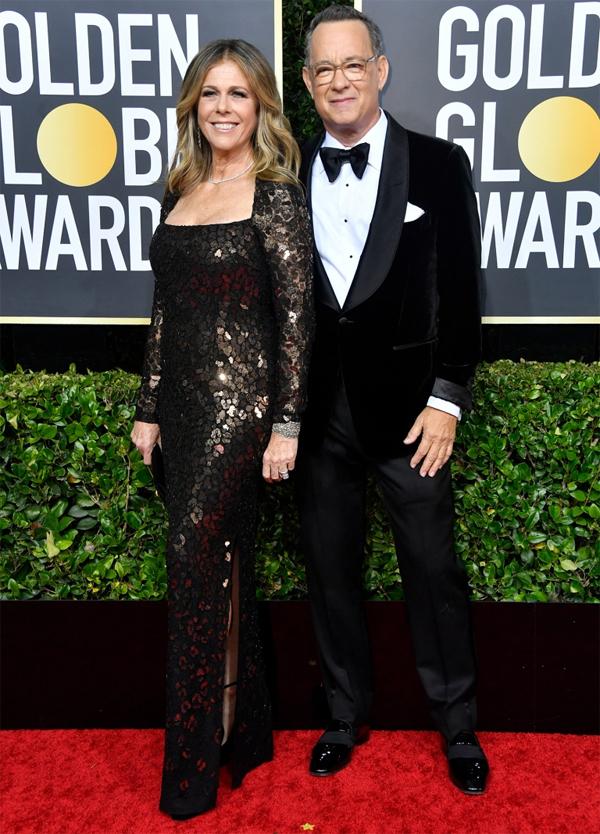 Tài tửTom Hanks sánh đôi bên vợ,diễn viên Rita Wilson.
