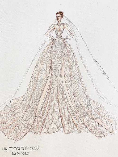 Bản diễn họa váy cưới của Cẩm Tú.