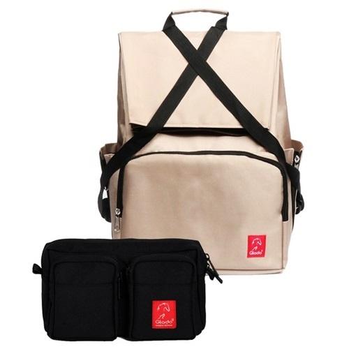 Combo balo laptop du lịch Glado Wander GWD002 (màu kem) và túi bao tử đeo chéo Glado Express GEX001 (màu đen) có thể giúp bạn được nhiều vật dụng khi picnic, từ đèn pin, áo quần, bình nước, hộp cơm...