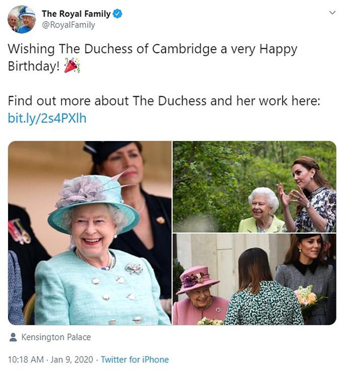 Instagram của Nữ hoàng chúc mừng sinh nhật cháu dâu Kate.