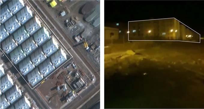 Hình ảnh tòa nhà trong video (phải) trùng với ảnh chụp từ vệ tình (trái). Ảnh: Maxar Technologies.