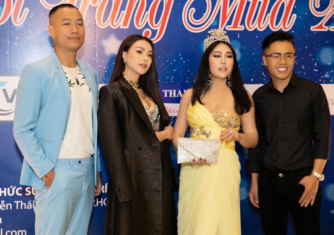 Diễn viên Phi Thanh Vân đội vương miện đi chấm thi nhan sắc. Người mẫu Quang Hòa, MC Quốc Bình góp mặt trong dàn sao dự gala Thời trang mùa xuân.