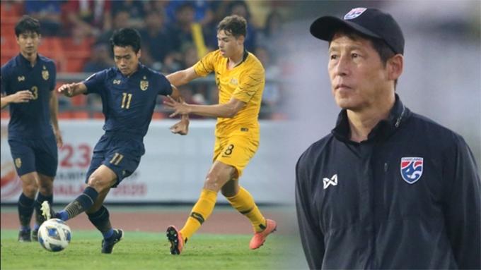 HLV Nishino cho rằng U23 Thái Lan cần phải phân phối thể lực hợp lý sau trận thua ngược trước Australia. Ảnh: Siam Sport.