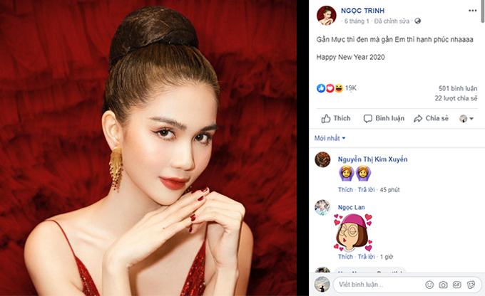Trên trang cá nhân mới đây, Ngọc Trinh chia sẻ hình ảnh mới chào năm mới. Bức ảnh nhận gần 20.000 lượt like kèm lời khen nhan sắc. Nhiều khán giả cho rằng ít ai nghĩ Nữ hoàng nội y vừa tròn 30 tuổi.
