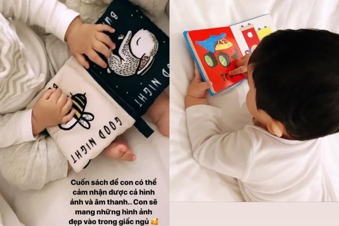 Phạm Hương vui khi con trai thích đọc chữ, tập nói hơn chơi đồ chơi. Cô quán triệt không cho bé sử dụng điện thoại, máy tính bảng.